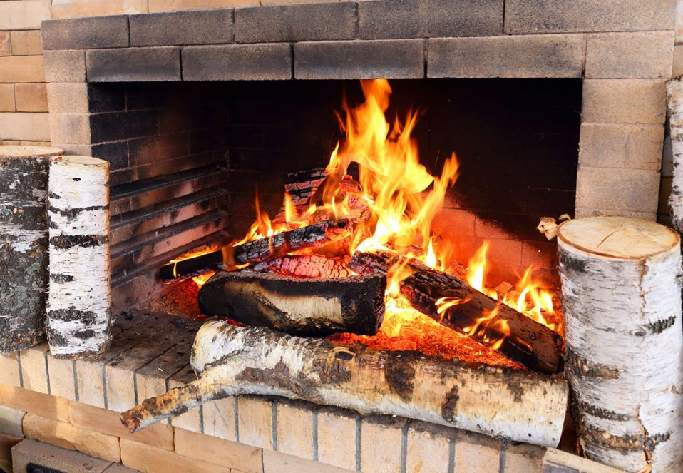 Firewood burns in the home furnace