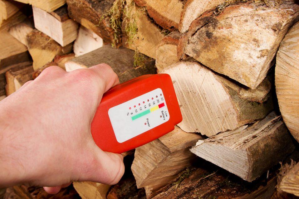 Hand mit einem Meßgerät für Holzfeuchtigkeit vor einem Stapel Brennholz